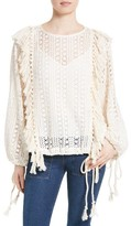 See by Chloe Women's Fishnet Lace & Fringe Top