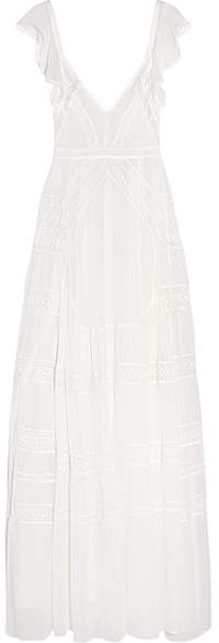 Needle & Thread Bridal Lace-paneled Silk-crepe Gown - Ivory