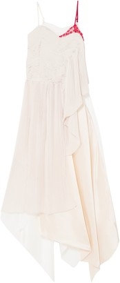 Preen by Thornton Bregazzi Adelia Lace, Plisse-crepe And Silk-satin Midi Dress