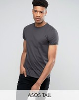 Asos Tall T-Shirt With Crew Neck And Roll Sleeve In Black