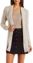 Charlotte Russe Belted Mixed Stitch Cardigan Sweater
