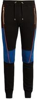 Balmain Biker stitched-panel jersey track pants