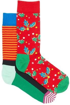 Happy Socks Holiday Cracker Holly Berry Crew Socks 2-Pack