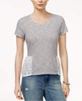 Maison Jules Cotton Lace-Trim T-Shirt, Created for Macy's