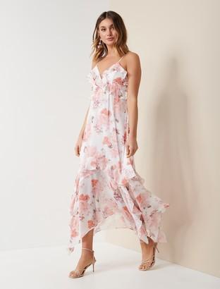 Forever New Hannah Ruffle Midi Dress - Peach Blossom Floral - 10