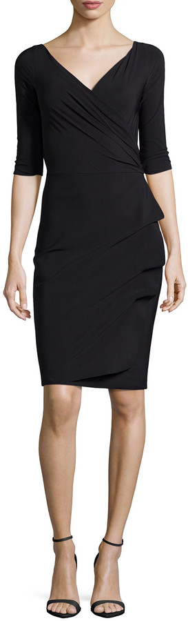Chiara Boni Florien 3/4-Sleeve Jersey Faux-Wrap Dress