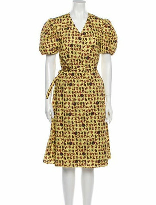 Jonathan Cohen Floral Print Midi Length Dress Yellow