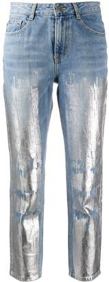 Sjyp Metallic-Print Cropped Jeans