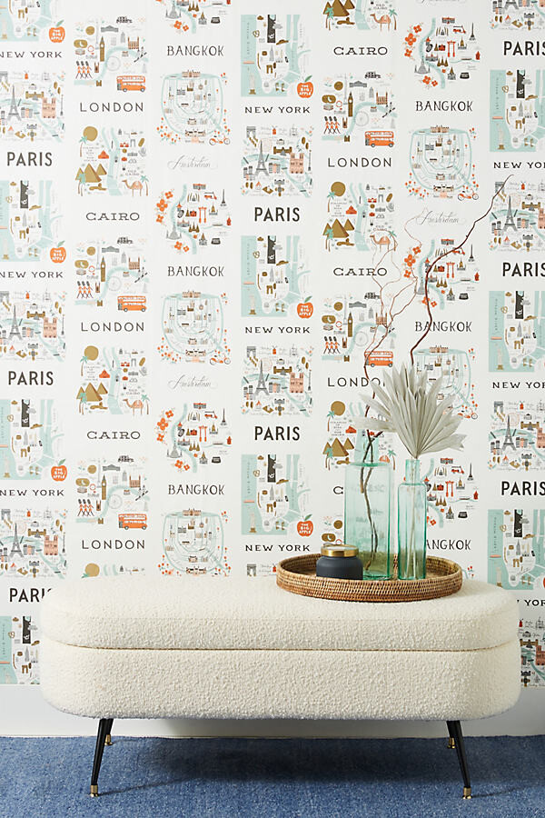 Rifle Paper Co. City Maps Wallpaper By Rifle Paper Co. in Mint
