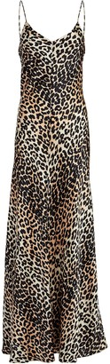 Ganni Leopard Print Silk Maxi Dress