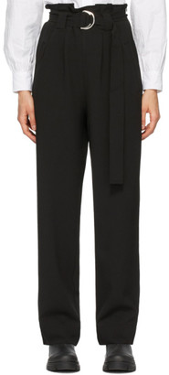 Ganni Black Heavy Crepe Belt Trousers