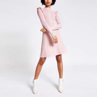 River Island Womens Pink pearl embellished rib knitted dress