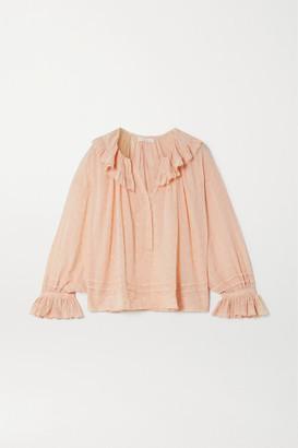 DÔEN Etta Ruffled Broderie Anglaise Cotton-voile Blouse - Blush