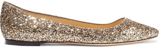 Jimmy Choo Goa Glittered Canvas Point-toe Flats