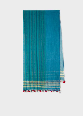 Women's Light Blue And Green Stripe Cotton Scarf With Pompom Details