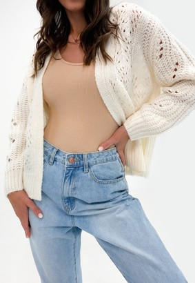 Missguided Cream Pointelle Knitted Cardigan