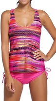 Alisa.Sonya Women Plus-Size Tribal Printed Tankini 3 Piece Swimwear Set