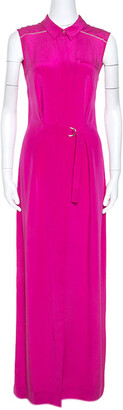 Matthew Williamson Pink Silk Maxi Shirt Dress M