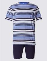 Marks and Spencer Pure Cotton Striped Pyjama Short Set