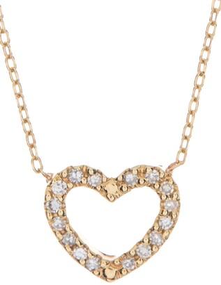 Ron Hami 14K Yellow Gold Pave Diamond Open Heart Pendant Necklace - 0.05 ctw