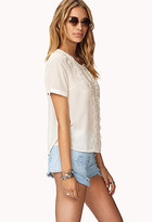 Forever 21 Sweet Side Embroidered Georgette Top