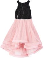 Speechless Black & Pink Sequin Ruffle Dress - Girls