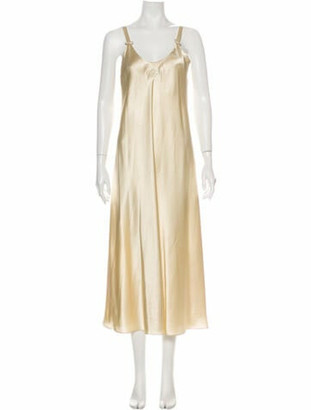 Oscar de la Renta Scoop Neck Midi Length Dress