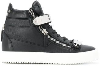 Giuseppe Zanotti Contrast Strap Hi-Top Sneakers