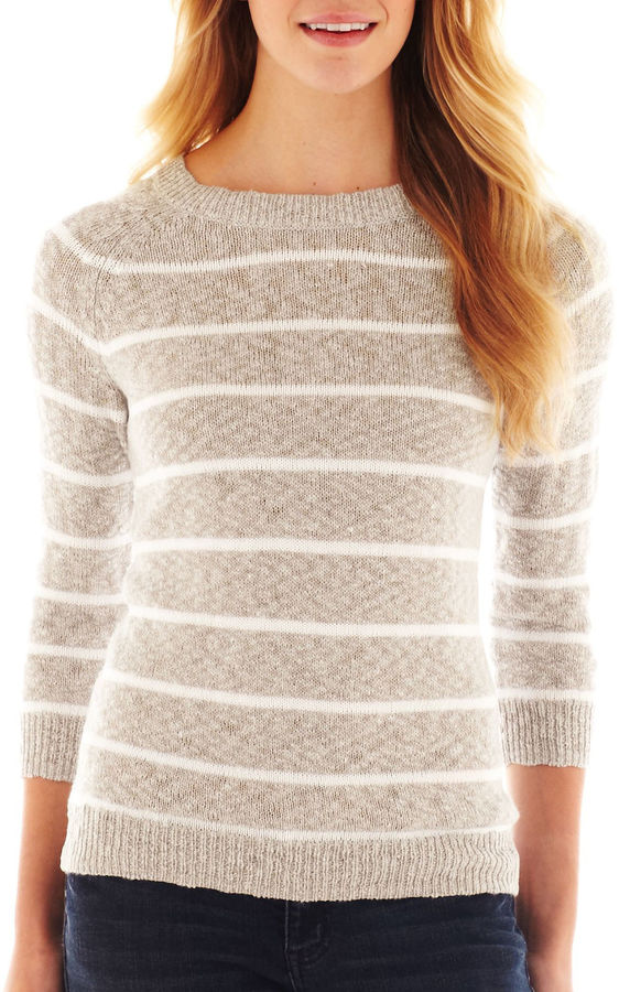 JCPenney jcp™ 3/4-Sleeve Striped Textured Sweater