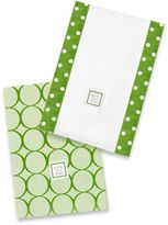 Swaddle Designs Jewel Tone Mod Circles Baby Burpies® in Pure Green (Set of 2)