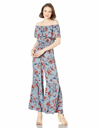 Jack by BB Dakota Womens Sonic Bloom Printed Rayon Crepe Off The Shoulder Jumpsuit