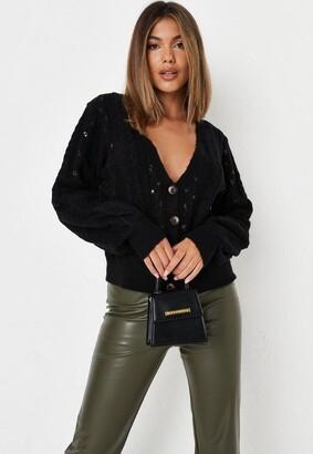 Missguided Black Sequin Embellished Knit Cardigan
