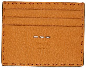 Fendi Orange Grained Leather Card Holder