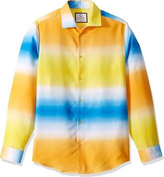 Azaro Uomo Men's Long Sleeve Colorful Dress Shirt Slim Casual Button Down