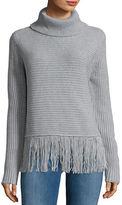 MICHAEL Michael Kors Fringed Ribbed Turtleneck Sweater