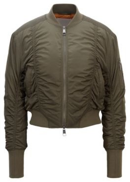 HUGO BOSS Ruched bomber jacket with patched sleeve pocket