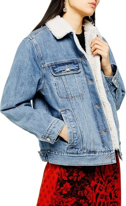 Topshop Oversize Denim Jacket with Faux Shearling Trim