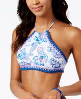 Becca Juliet High-Neck Crochet-Trim Halter Bikini Top