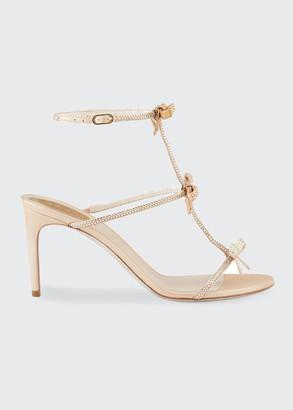 Rene Caovilla Mid-Heel T-Strap Sandal with Bows