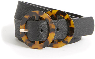 Fantas-Eyes Double Tortoise Circle Belt Black S