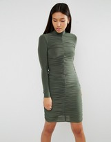 Club L Long Sleeve Ruched Detail Slinky Dress
