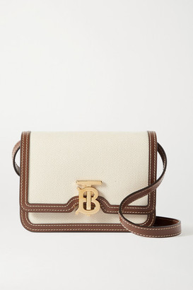 Burberry Mini Leather-trimmed Canvas Shoulder Bag - Brown