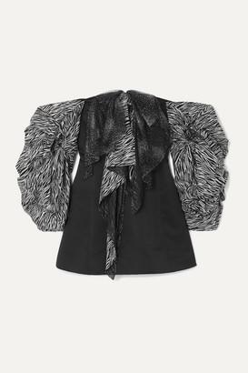 Redemption Off-the-shoulder Satin And Glittered Zebra-print Tulle Mini Dress - Black