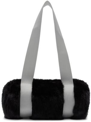 Landlord Black and Grey Mini Faux-Fur Duffle Bag