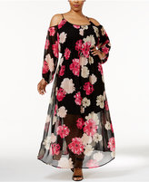 Calvin Klein Plus Size Floral-Print Cold-Shoulder Maxi Dress