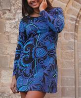 Aller Simplement Blue & Black Paisley Long-Sleeve Shift Dress