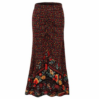 Younthone Women's Vintage Skirts Irregular Hem Wrinkle Ruffles Lace Long Skirt Bohemian Midi Skirt Casual Beach Skirt High Waist Skirt(Black XL)