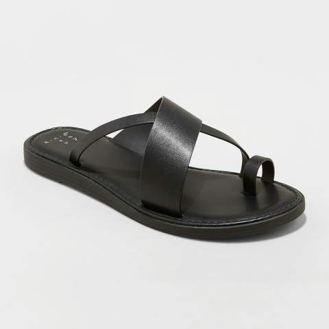 A New Day Women's Kallima Faux Leather Toe Ring Style Slide Sandals