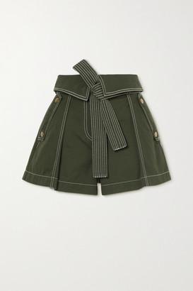 Ulla Johnson Elliott Belted Cotton-gabardine Cargo Shorts - Forest green