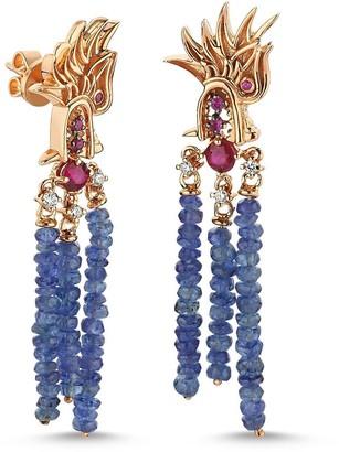 Selda Jewellery Dragon Lady Sapphire & Ruby Short Earrings